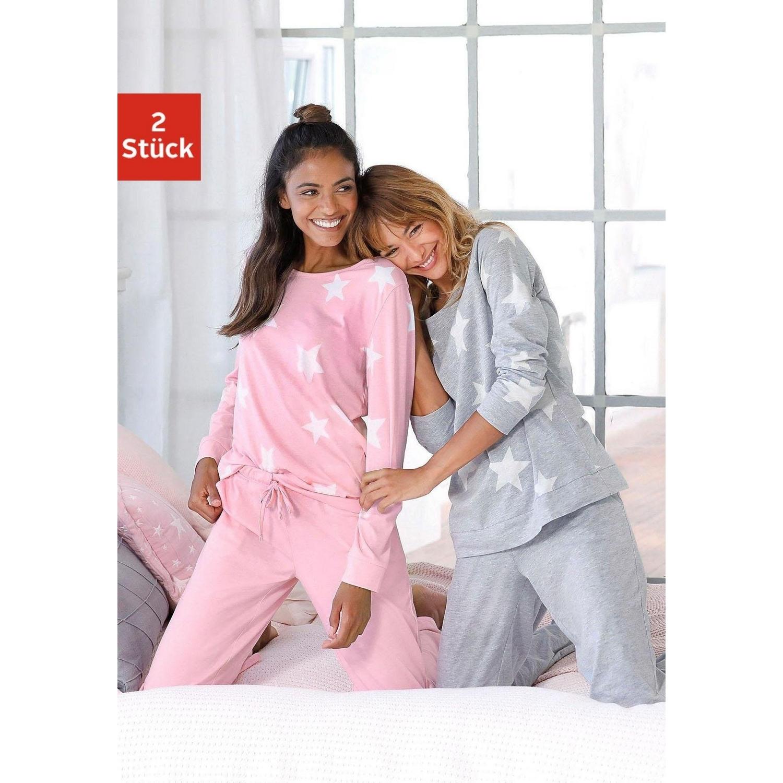 Outlet zu verkaufen einzigartiges Design bester Ort für Pyjama - grau-rosa-Sterne von ARIZONA - LASCANA