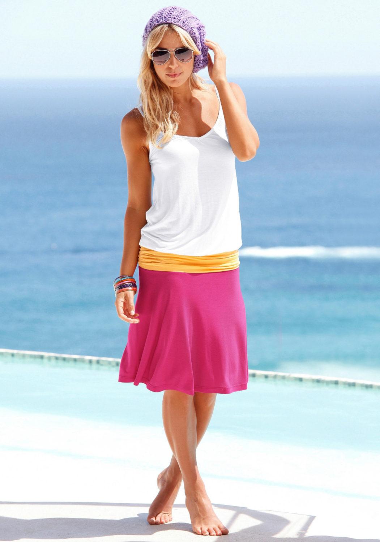 strandkleid wei orange pink von beachtime lascana. Black Bedroom Furniture Sets. Home Design Ideas