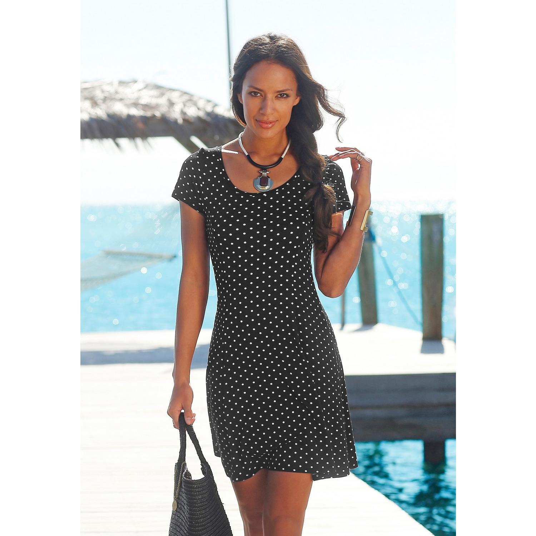5501f75f88a6f6 Beachtime Strandkleid - schwarz-weiß-gepunktet von BEACHTIME - LASCANA