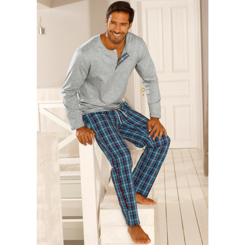 pyjama grau meliert von s oliver red label lascana. Black Bedroom Furniture Sets. Home Design Ideas