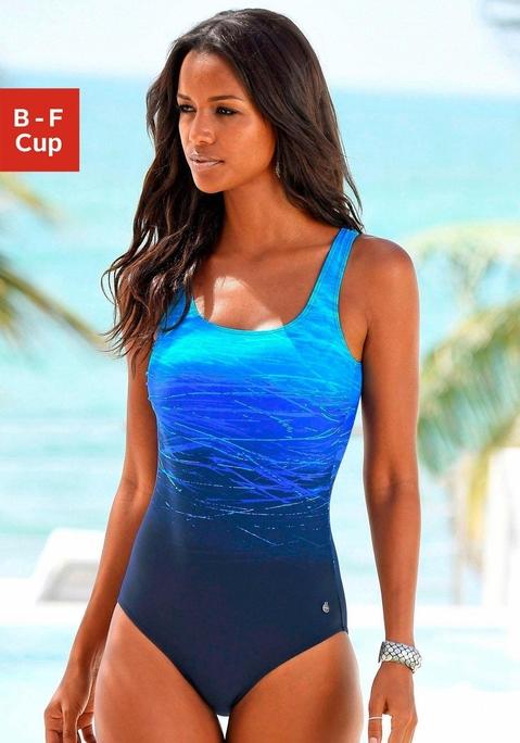 LASCANA Badeanzug blau bedruckt 36B Preisvergleich