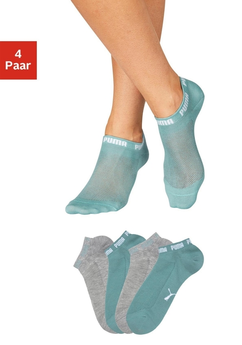 Puma Packung: Sneakersocken mint, grau mel. 35