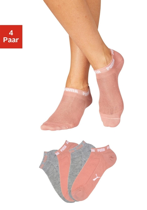 Puma Packung: Sneakersocken pfirsich, grau mel. 35