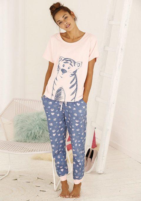 Große Größen: Vivance Dreams Pyjama mit Ringelschwanzprint auf der Rückseite, rosé+mehrfarbig, Gr.40/42-56/58 jetztbilligerkaufen