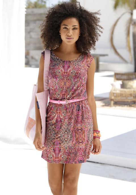 BUFFALO Sommerkleid Damen pink-bedruckt Gr.44