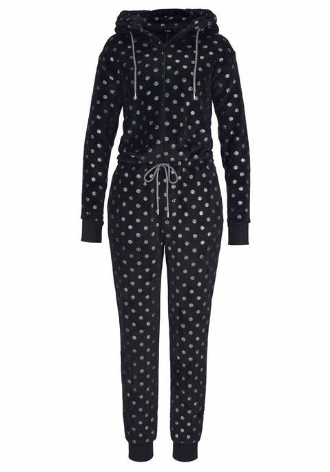 lascana -  Overall Damen schwarz-silberfarben-gepunktet Gr.40