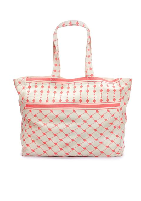 lascana -  XL-Strandtasche Damen creme-pink Gr.