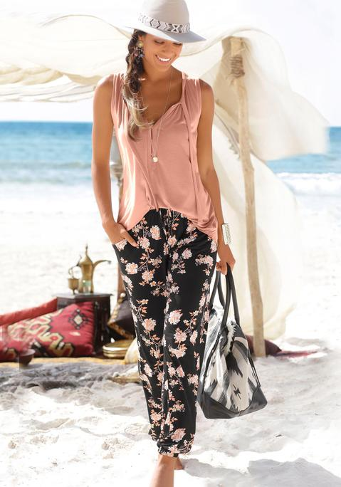 lascana -  XL-Strandtasche Damen schwarz-beige Gr.