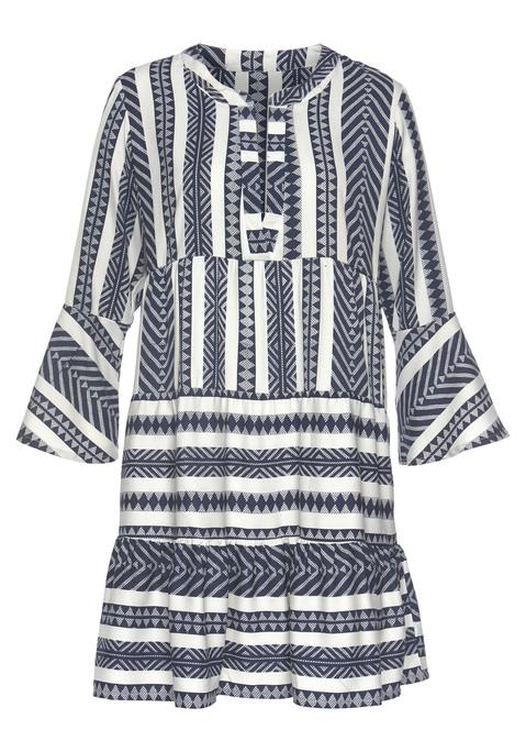 venice beach -  Blusenkleid Damen weiß-marine-bedruckt Gr.36/38