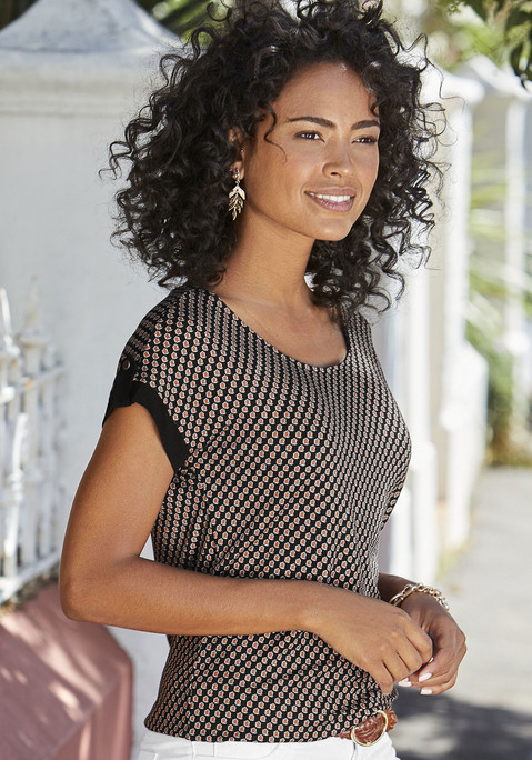 vivance -  Damen T-Shirt weiß+schwarz Gr.48/50